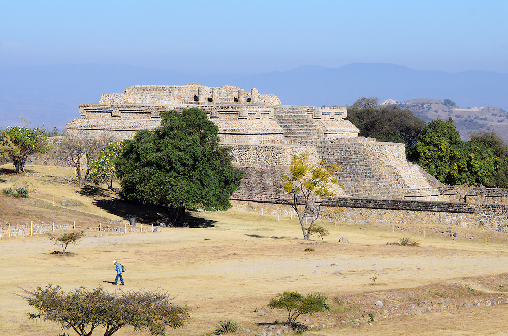 Morning sun brightens the east face of Building IV at the Monte Alban archaeological site in Oaxaca, Mexico.