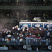 Trevor Bayne driving the Motorcraft/Quick Lane Ford celebrates in Victory Lane  after winning the Daytona 500 Sprint Cup race at Daytona International Speedway on February 20, 2011 in Daytona Beach, Florida. (AP Photo/Alex Menendez)