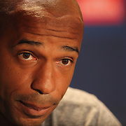 Thierry Henry, New York Red Bulls, at a press conference at Red Bull Arena ahead of the friendly match between Arsenal and New York Red Bulls. Red Bull Arena, Harrison, New Jersey. USA. 24th July 2014. Photo Tim Clayton