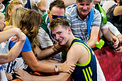 Luka Doncic of Slovenia and his mother Mirjam Poterbin celebrate after winning during basketball match between National Teams of Slovenia and Spain at Day 15 in Semifinal of the FIBA EuroBasket 2017 at Sinan Erdem Dome in Istanbul, Turkey on September 14, 2017. Photo by Vid Ponikvar / Sportida