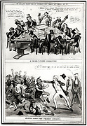 Anti-Trades Union cartoon showing a meeting of a Trades' Union Committee, top, and the Duke of Wellington putting down the Trade Unions. London c1833.