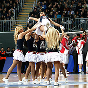 Anadolu Efes's show girls during their Turkish Airlines Euroleague Basketball Top 16 Group E Game 4 match Anadolu Efes between Olympiacos at Sinan Erdem Arena in Istanbul, Turkey, Wednesday, February 08, 2012. Photo by TURKPIX