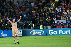 Josip Simunic #4 of Dinamo Zagreb celebrate victory and advancing to main draw of Champions League for season 2012/13 after Play-offs for Champions League between NK Maribor (Slovenia) and GNK Dinamo Zagreb (Croatia), on August 28, 2012, in Maribor, Slovenia. (Photo by Matic Klansek Velej / Sportida.com)