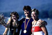 Barcelona Olympics 1992 - Lake Banyoles, SPAIN, ROM, W1X Medals Gold, LIPA, Elisabeta, BEL,  W1X, Silver, BREDAEL, Annelies, CAN W1X Bronze, LAUMANN, Silken Suzette.  Photo: Peter Spurrier