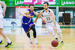 J. Mocnik of KK Helios Suns  and D. Vujasinovic of KK Zlatorog during basketball match between KK Zlatorog and KK Helios Suns in 1st match of Nova KBM Slovenian Champions League Final 2015/16 on May 29, 2016  in Dvorana Zlatorog, Lasko, Slovenia.  Photo by Ziga Zupan / Sportida