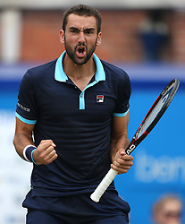 Croatia's Marin Cilic celebrates during day six of the 2017 AEGON Championships at The Queen's Club, London.