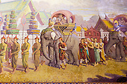 15 JULY 2014 - BANGKOK, THAILAND:   The murals in the ubosot (Ordination Hall) at Wat Rachathiwat Ratchaworawihan on Samsen Soi 9 were painted by Prof. C. Rigoli, an Italian artist. The temple has a large teak instruction hall, considered one of the finest teak buildings in Asia.   PHOTO BY JACK KURTZ