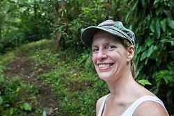 Hiker with katydid on shoulder, Arenal Tilaran Conservation Area, Costa Rica.