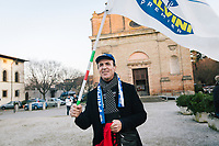 CASTROCARO TERME E TERRA DEL SOLE, ITALY - 5 JANUARY 2020: A supporter of Matteo Salvini, former Interior Minister of Italy and leader of the far-right League party, is seen here after a rally in Castrocaro Terme e Terra del Sole, Italy, on January 5th 2020.<br /> <br /> Matteo Salvini is campaigning in the region of Emilia Romagna to support the League candidate Lucia Borgonzoni running for governor.<br /> <br /> After being ousted from government in September 2019, Matteo Salvini has made it a priority to campaign in all the Italian regions undergoing regional elections to demonstrate that, in power or not, he still commands considerable support.<br /> <br /> The January 26th regional elections in Emilia Romagna, traditionally the home of the Italian left, has been targeted by Matteo Salvini as a catalyst for bringing down the government. A loss for the center-left Democratic Party (PD) against Mr Salvini's right would strip the centre-left party of control of its symbolic heartland, and probably trigger a crisis in its coalition with the Five Star Movement.