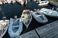 Small boats docked at public harbor, Castine, Maine, USA