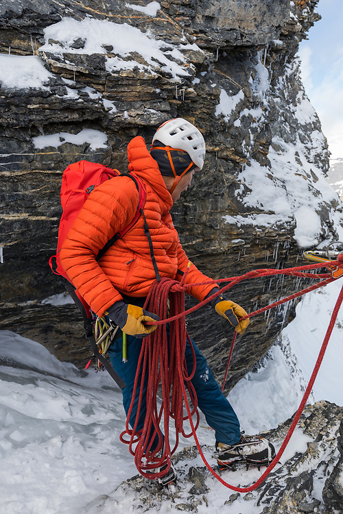 Climbing the North Face Bypass route on Mt Athabasca 3491m in the Canadian Rockies