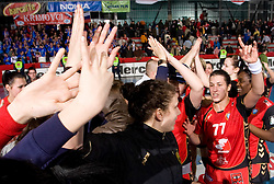 Players of Krim celebrate after the 2nd Round of Group 1 at Women Champions League handball match between RK Krim Mercator, Ljubljana and HC Leipzig, Germany on February 13, 2010 in Arena Kodeljevo, Ljubljana, Slovenia. Krim defeated  Leipzig 32-26. (Photo by Vid Ponikvar / Sportida)