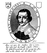 John Lilburne (1614?–August 29, 1657), also known as Freeborn John, was an agitator in England before, during and after the English Civil Wars of 1642–1650. He was a Puritan, though towards the end of his life he became a Quaker. shown in an illustration from  the title page of his 'An Answer to Nine Arguments'