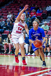 NORMAL, IL - January 03: Paige Saylor forces Sommer Pitzer to the baseline during a college women's basketball game between the ISU Redbirds and the Sycamores of Indiana State January 03 2020 at Redbird Arena in Normal, IL. (Photo by Alan Look)