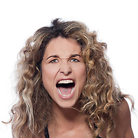 beautiful caucasian woman angry portrait isolated studio on white background