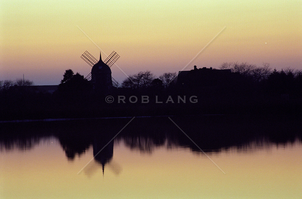 Sunset Over Windmill And Pond In Southampton, NY