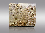 """Picture & image of Hittite relief sculpted orthostat stone panel  of Long Wall Limestone, Karkamıs, (Kargamıs), Carchemish (Karkemish), 900-700 BC. Anatolian Civilisations Museum.<br /> <br />  The hieroglyphics reads; """"I am Win-a-tis, beloved wife of my Lord Suhi, wherever and whenever my husband honours his name, he will honour my name as well with favours"""". Underneath, there are two goddess figures, one is naked with a horned head, holding her breasts with her hands. Her genitalia is indicated by a triangle. <br /> <br /> On a gray background. .<br />  <br /> If you prefer to buy from our ALAMY STOCK LIBRARY page at https://www.alamy.com/portfolio/paul-williams-funkystock/hittite-art-antiquities.html  - Type  Karkamıs in LOWER SEARCH WITHIN GALLERY box. Refine search by adding background colour, place, museum etc.<br /> <br /> Visit our HITTITE PHOTO COLLECTIONS for more photos to download or buy as wall art prints https://funkystock.photoshelter.com/gallery-collection/The-Hittites-Art-Artefacts-Antiquities-Historic-Sites-Pictures-Images-of/C0000NUBSMhSc3Oo"""