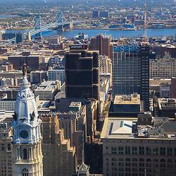 Aerial view of the City Hall, old City, Ben Franklin Bridge, Philadelphia Skyline facing east towards Camden ,New Jersey