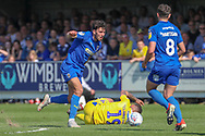 AFC Wimbledon defender Will Nightingale (5) winning ball during the EFL Sky Bet League 1 match between AFC Wimbledon and Bristol Rovers at the Cherry Red Records Stadium, Kingston, England on 19 April 2019.