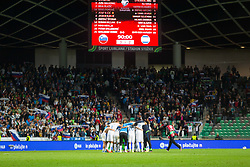 Team Slovenia celebrates after winning during the 2020 UEFA European Championships group G qualifying match between Slovenia and Israel at SRC Stozice on September 9, 2019 in Ljubljana, Slovenia. Photo by Ziga Zupan / Sportida