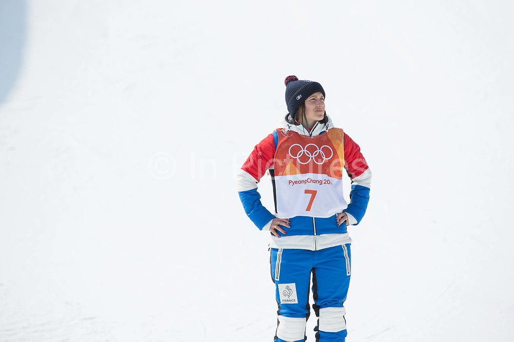 Marie Martinod, France, during the womens skiing halfpipe flower ceremony at the Pyeongchang 2018 Winter Olympics on February 20th 2018, at the Phoenix Snow Park in Pyeongchang-gun, South Korea