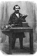 Charles Dickens (1812-70) English novelist and journalist. Dickens giving a public reading from his 'Dombey and Son' July 1858. This was one of his early readings which he began in 1858 and continued until March 1870.