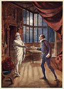 Scene from the opera 'Don Giovanni' (1787), c1914.  The stone statue of the Commandatore arrives to join the feast to which Don Giovanni has jokingly invited him.  Don Giovanni killed the Commandatore when he challenged him when he had seduced his daughter, Donna Anna. Mozart's opera was first performed in Prague in 1787.    From 'A Day With Wolfgang Amadeus Mozart' by May Byron. (London, c1914).