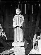 Power, James - sculptor. Special of statue of St. Bartholomew and Our Lady..Pictured at studio on Berkeley Rd..14/04/1958..