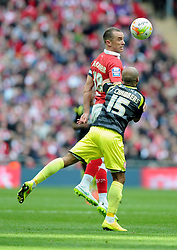 Bristol City's Aaron Wilbraham battles for the high ball with Walsall's James Chambers  - Photo mandatory by-line: Joe Meredith/JMP - Mobile: 07966 386802 - 22/03/2015 - SPORT - Football - London - Wembley Stadium - Bristol City v Walsall - Johnstone Paint Trophy Final