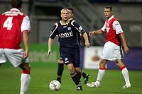 Fotball<br /> Nederland<br /> Foto: ProShots/Digitalsport<br /> NORWAY ONLY<br /> <br /> maastricht,24-09-2008, christian grindheim aan  de bal tussen van boxel en thiebaut.<br /> <br /> mvv - sc heerenveen