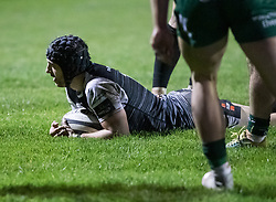 Dan Evans of Ospreys scores his sides fourth try<br /> <br /> Photographer Simon King/Replay Images<br /> <br /> Guinness PRO14 Round 7 - Ospreys v Connacht - Friday 26th October 2018 - The Brewery Field - Bridgend<br /> <br /> World Copyright © Replay Images . All rights reserved. info@replayimages.co.uk - http://replayimages.co.uk