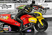 Angelle Sampey at starting line National Guard drag race Memphis Motorsports Park