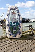 Artwork mosaic 'Esturiana, by Anna Schwegmann-Fielding, Ha'Penny pier, Harwich, Essex, England, UK 2018