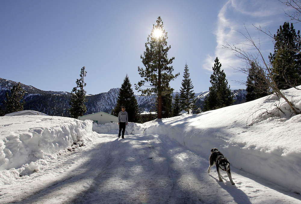 MAMMOTH LAKES, CA, January 19, 2008: Ryan Hall trains and lives part time with his wife and miniature Husky in Mammoth Lakes, CA. The high altitude and clean air provide a picturesque and challenging training ground for the Olympic hopeful.