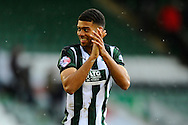 Plymouth Argyle's Jake Jervis applauds the home fans after their 3-2 win over York City in the Sky Bet League 2 match between Plymouth Argyle and York City at Home Park, Plymouth, England on 28 March 2016. Photo by Graham Hunt.