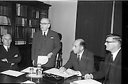 06/02/1964<br /> 02/06/1964<br /> 06 February 1964<br /> Newly constituted Bord Altranais (Irish Nursing Board) at no.11 Fitzwilliam Place, Dublin. Picture shows An Tanaiste Mr Sean McEntee, addressing the meeting. Also in the picture are (l-r) Mr P.J. Murray, Sec. Department of Health; Dr William O'Dwyer, President and Mr James Keogh, C.E.O., An Bord Altranais.
