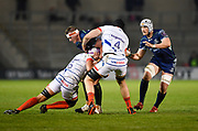 Connacht lock Gavin Thornbury is held in the tackle during a European Challenge Cup Quarter Final match in Eccles, Greater Manchester, United Kingdom, Friday, March 29, 2019.  (Steve Flynn/Image of Sport)