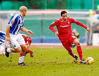 Photo: Alan Crowhurst.<br />Brighton & Hove Albion v Nottingham Forest. Coca Cola League 1. 17/02/2007. Forest's Nathan Tyson (R) attacks.