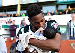 Jamille Matt of Plymouth Argyle kisses his son - Mandatory by-line: Robbie Stephenson/JMP - 15/05/2016 - FOOTBALL - Home Park - Plymouth, England - Plymouth Argyle v Portsmouth - Sky Bet League Two play-off semi-final second leg