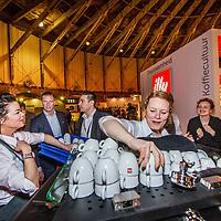 Nederland, Amsterdam, 10 maart 2017.<br />De stand van Illy tijdens de Amsterdam Coffee Festival in de Gashouder op het Westergasfabriek terrein.<br /><br /><br /><br />Foto: Jean-Pierre Jans