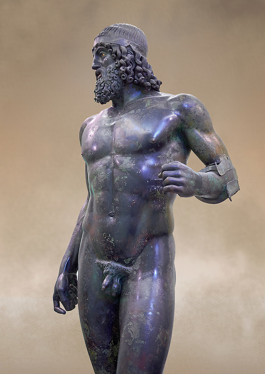 Torso of the Riace bronze Greek statue A cast about 460 BC. statue A was probably sculpted by Myron. The style of the Riace statues straddles the archaic period and heralds the start of the classical period. Both statues depict strong young naked warriors who stand calmly but exuding great power. Museo Nazionale della Magna Grecia,  Reggio Calabria, Italy.  .<br /> <br /> If you prefer to buy from our ALAMY STOCK LIBRARY page at https://www.alamy.com/portfolio/paul-williams-funkystock/greco-roman-sculptures.html . Type -    Riace     - into LOWER SEARCH WITHIN GALLERY box - Refine search by adding a background colour,  etc.<br /> <br /> Visit our ROMAN WORLD PHOTO COLLECTIONS for more photos to download or buy as wall art prints https://funkystock.photoshelter.com/gallery-collection/The-Romans-Art-Artefacts-Antiquities-Historic-Sites-Pictures-Images/C0000r2uLJJo9_s0