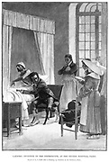 Rene Theophile Hyacinthe Laennec (1781-1826), French physician who invented the Stethoscope. [1889].  Laennec is shown listening to a patient's chest at the Necker Hospital, Paris. In his left hand he holds the tube which was the early form of stethoscope. Engraving.