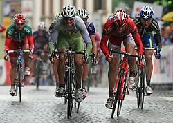 Jure Kocjan of Slovenia (Perutnina Ptuj) and Gabriele Balducci of Italia (Acqua Sapone - Caffe Mokambo) in last sprint in 4th stage of the 15th Tour de Slovenie from Celje to Novo mesto (157 km), on June 14,2008, Slovenia. (Photo by Vid Ponikvar / Sportal Images)/ Sportida)