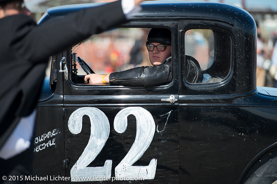 Jeff Mikus in his 1930 Ford Model A Coupe at the Race of Gentlemen. Wildwood, NJ, USA. October 10, 2015.  Photography ©2015 Michael Lichter.