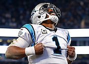 CHARLOTTE, NC - JAN 24:  Quarterback Cam Newton #1 of the Carolina Panthers celebrates after scoring a touchdown during the NFC Championship game against the Arizona Cardinals at Bank of America Stadium on January 24, 2016 in Charlotte, North Carolina.