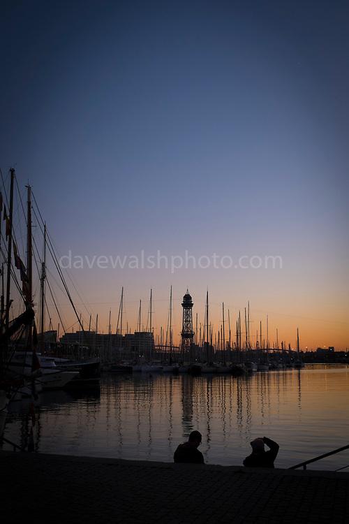 Sunset in Barcelona Port