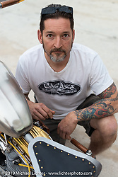 Tim Dixon of Gas Axe with his 1959 Panhead at the Ace Cafe during Daytona Bike Week. Orlando, FL. USA. Saturday March 10, 2018. Photography ©2018 Michael Lichter.