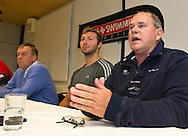 "(L-R) Swiss Swimming National Head Coach Guennadi Touretski, swimmer Ian THORPE of Australia and Australian Swimming National Head Coach Leigh Nugent are pictured during a press confercene held at the Centro sportivo nazionale della gioventu (""youth and sports""-Centre) in Tenero, Switzerland, Wednesday, March 16, 2011. Five-time Olympic gold medallist Ian Thorpe has finalised his coaching set-up ahead of next year's London Olympic Games, announcing today that he will link up with former Australian Institute of Sport Coach and Russian born Gennadi Touretski in Switzerland. (Photo by Patrick B. Kraemer / MAGICPBK)"
