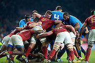 Both sets of players battle to win the possession.  Rugby World Cup 2015 pool D match, France v Italy at Twickenham Stadium in London on Saturday 19th September 2015.<br /> pic by John Patrick Fletcher, Andrew Orchard sports photography.