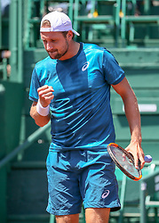 April 11, 2018 - Houston, TX, U.S. - HOUSTON, TX - APRIL 11:  Tennys Sandgren of the United States reacts after winning a point during the second round of the Men's Clay Court Championships on April 11, 2018 at River Oaks Country Club in Houston, Texas.  (Photo by Leslie Plaza Johnson/Icon Sportswire) (Credit Image: © Leslie Plaza Johnson/Icon SMI via ZUMA Press)